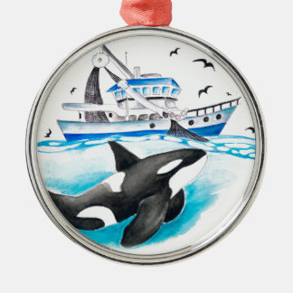 Orca And The Boat Metal Ornament