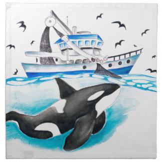 Orca And The Boat Napkin