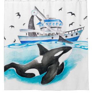 Orca And The Boat Shower Curtain