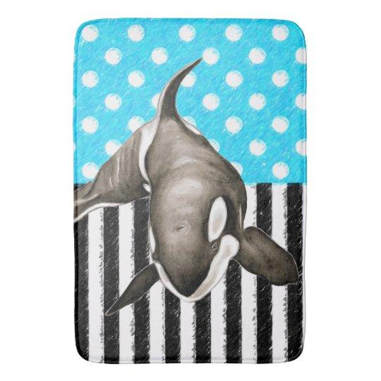 Orca Blue Polka Dot Bath Mat