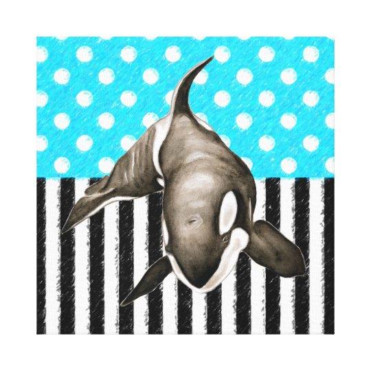 Orca Blue Polka Dot Canvas Print