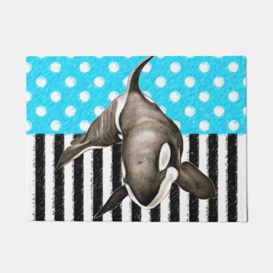 Orca Blue Polka Dot Doormat