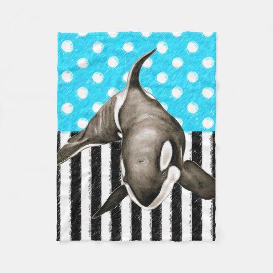 Orca Blue Polka Dot Fleece Blanket