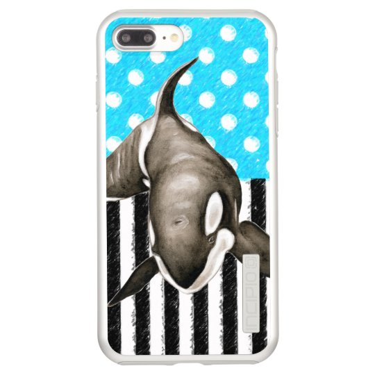 Orca Blue Polka Dot Incipio DualPro Shine iPhone 8 Plus/7 Plus Case