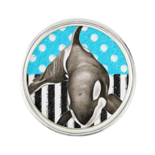 Orca Blue Polka Dot Lapel Pin