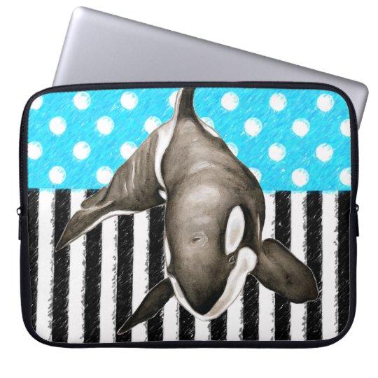 Orca Blue Polka Dot Laptop Sleeve