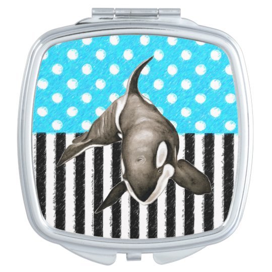 Orca Blue Polka Dot Makeup Mirror