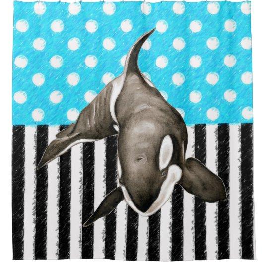 Orca Blue Polka Dot Shower Curtain