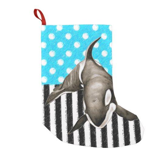 Orca Blue Polka Dot Small Christmas Stocking