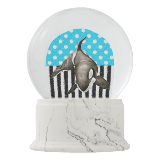 Orca Blue Polka Dot Snow Globe