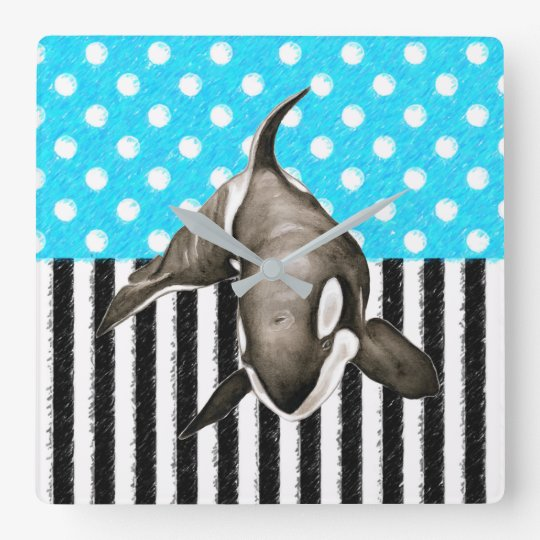 Orca Blue Polka Dot Square Wall Clock
