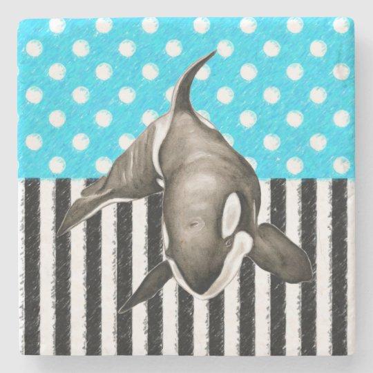 Orca Blue Polka Dot Stone Coaster