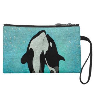 Orca Blue Woodblock Suede Wristlet