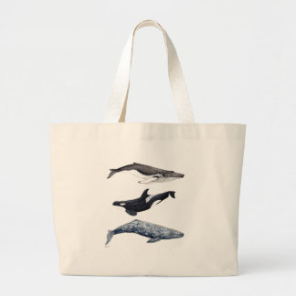 Orca, hunchbacked whale and gray whale large tote bag