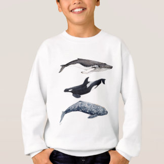 Orca, hunchbacked whale and gray whale sweatshirt
