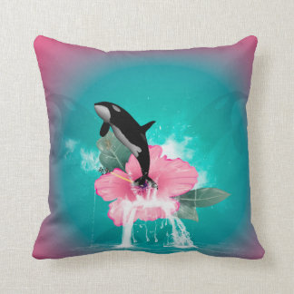 Orca jumping out of a flower cushion