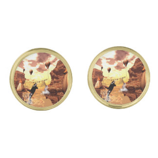 Orca jumps for a fish gold finish cufflinks