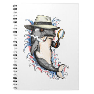 Orca Killer Whale Detective Tattoo Spiral Notebook