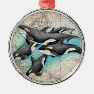 Orca Map Atlas Metal Ornament