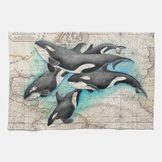 Orca Map Atlas Tea Towel