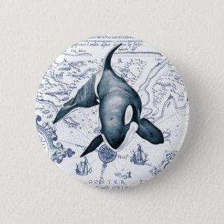 Orca Map Blue 6 Cm Round Badge