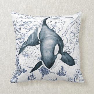 Orca Map Blue Cushion