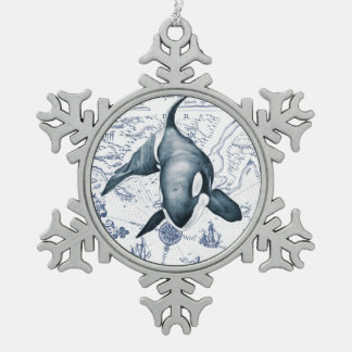 Orca Map Blue Snowflake Pewter Christmas Ornament