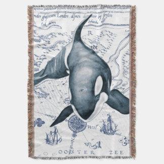 Orca Map Blue Throw Blanket