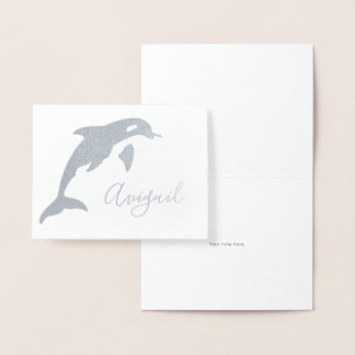 Orca Name Stationery Foil Card