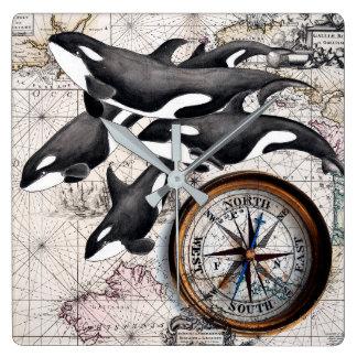 Orca Nautical Compass Square Wall Clock