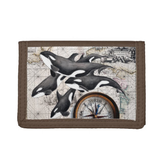 Orca Nautical Compass Trifold Wallets