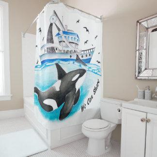 Orca Share Shower Curtain