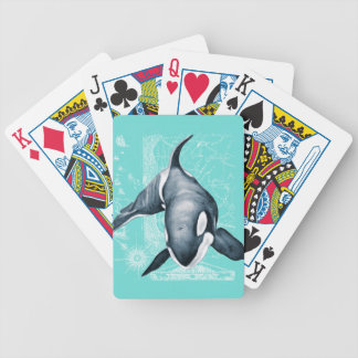 Orca Teal White Poker Deck