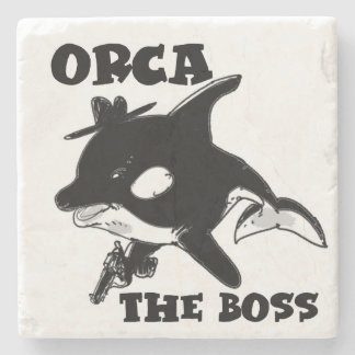 orca the boss cartoon style funny illustration stone coaster