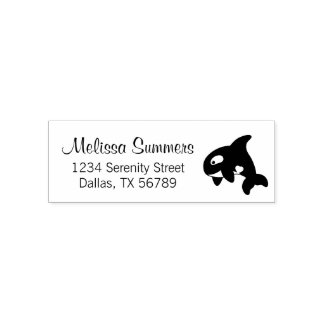 Orca Whale Address Self-inking Stamp