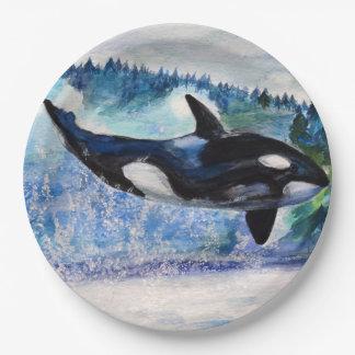 Orca whale art Custom Paper Plates