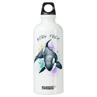 Orca Whale Born Free Water Bottle