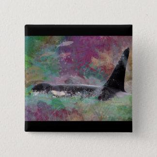 Orca Whale Fantasy Dream - I Love Whales 15 Cm Square Badge