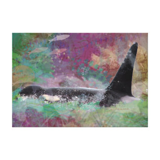 Orca Whale Fantasy: Salmon and Orca Whale Canvas Print