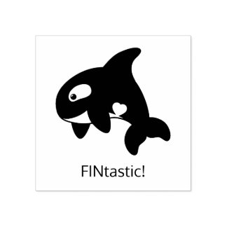 Orca Whale - FINtastic (fantastic) Quote Rubber Stamp