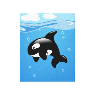 Orca Whale in Ocean Canvas Print