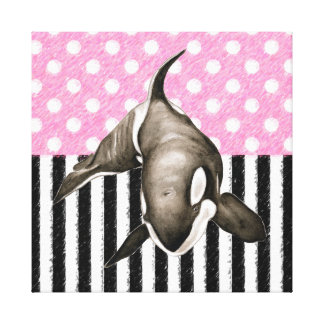 Orca Whale  pink polka dot Canvas Print