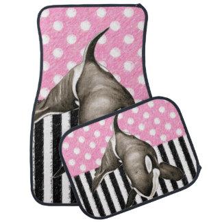Orca Whale  pink polka dot Car Mat