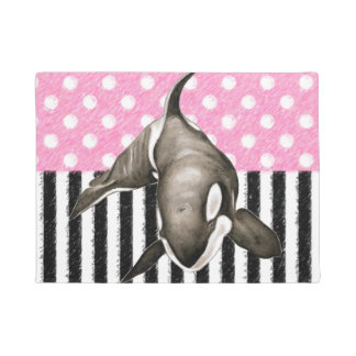 Orca Whale  pink polka dot Doormat