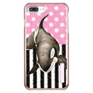 Orca Whale  pink polka dot Incipio DualPro Shine iPhone 8 Plus/7 Plus Case