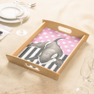 Orca Whale  pink polka dot Serving Tray