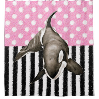 Orca Whale  pink polka dot Shower Curtain