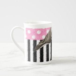 Orca Whale  pink polka dot Tea Cup