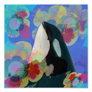 Orca Whale Spy Hop Multicolor Graphic-I SEE You Poster