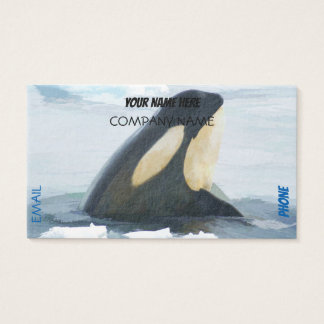 Orca Whale Spyhop blue Business Card